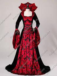 Red Queen Halloween Costume Gothic Renaissance Velvet Red Queen Dress Gown Game Thrones