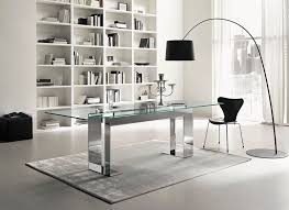 Glass Rectangle Dining Table Contemporary Table Glass Chromed Metal Rectangular Miles