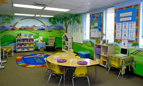 colorful and inspiring classroom love the murals classroom