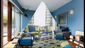 modern living room with blue sofa youtube