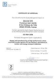 certifications eurochlor ruschlor cr sil 3 descote valves