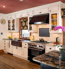 copper ceiling tiles kitchen traditional with bar black hood black