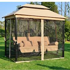patio gazebos and canopies outsunny outdoor 3 person patio daybed canopy gazebo swing tan w