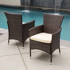 Black Wicker Patio Furniture Sets - malta outdoor wicker dining chair with cushion set of 2 by