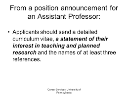From a position announcement for an Assistant Professor  Applicants should submit a letter of application SlidePlayer