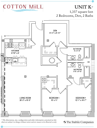 Floor Plan 2 Bedroom Apartment 2 Bedroom Apartments With Den At Cotton Mill