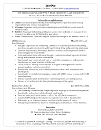 Sample Resume For Senior Manager by Retail Manager Sample Resume