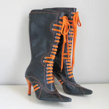 high heel motorcycle boots black and orange lace up knee high heel boots glaze 8 from