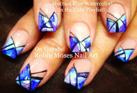 blue abstract watercolor stripe nails easy nail art design