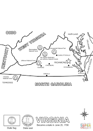 virginia state map coloring page free printable coloring pages
