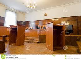 empty courtroom with wooden benches editorial photography image