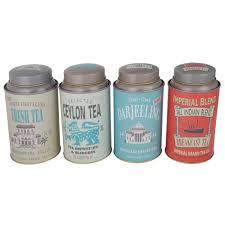 set of 4 vintage style imperial tea storage tins amazon co uk