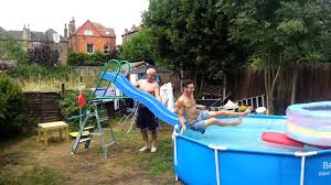 home made water slide for big kids youtube