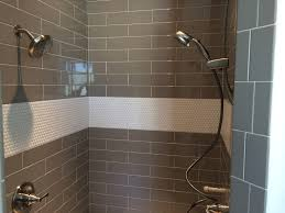 master shower tile ideas penny tile and large grey brick lay