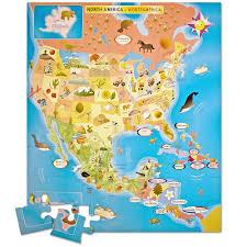 N America Map by Amazon Com Ingenio North America Map Bilingual Puzzle Toys U0026 Games