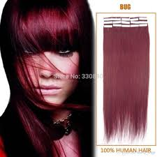 Human Hair Glue In Extensions by 99j Burgundy Tape Hair Extensions Human Indian Remy Adhesive Glue