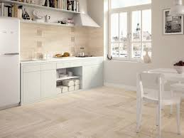 Kitchen Floors Ideas Wood Look Tile Light Wooden Tiled Kitchen Splashback And Floor