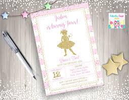 1st birthday princess invitation ballerina invitation pink and gold ballerina invitation invite