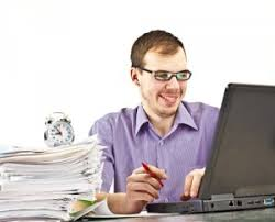 Male student happy about research results from the internet College Recruiter