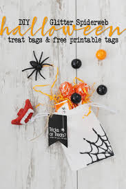 Printable Halloween Bags Diy Halloween Trick Or Treat Bags With Glitter Spiderwebs Pink