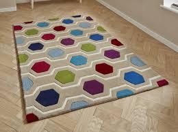 Coloured Rug Modern Linear Hexagonal Design Multi Coloured Rug 150cm X 230cm 4