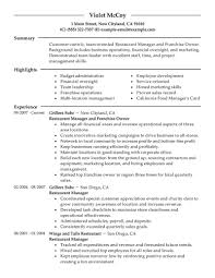 Resume Examples For Food Service by Best Franchise Owner Resume Example Livecareer