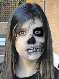 half face skull makeup by mariana a on deviantart halloween