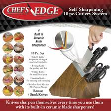 chef u0027s edge self sharpening knife block and knife set asseenontv com