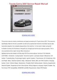 toyota camry 2007 service repair manual by ionagladden issuu