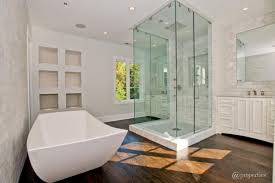 modern master bathroom with cubicle glass walk in shower and