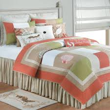 Ocean Themed Bedding Mesmerizing Beach Themed Comforters With Peach Color Accent On