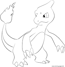 005 charmeleon pokemon coloring pages printable