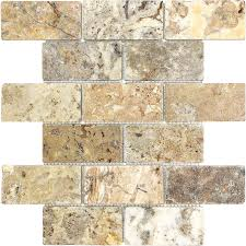 shop scabos tumbled natural stone mosaic subway wall tile common