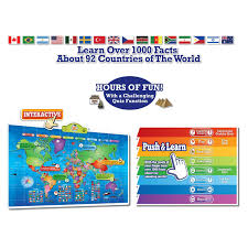 Kids World Map Amazon Com Push To Talk Kids World Map Learn Over 1000 Facts