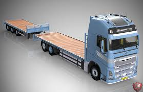 volvo truck models 3d volvo fh flatbed empty with trailer model 3d model obj mtl