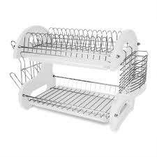 Plastic Dish Drying Rack Rubbermaid Large Chrome Antimicrobial Dish Drainer Fg6032archrom