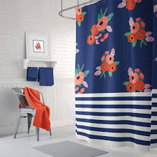 stripes and floral shower curtain navy blue coral red