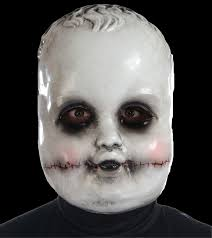 creepy horror baby doll face mask halloween costume accessory