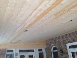 tongue and groove white pine porch ceiling before stain