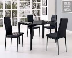 Glass Dining Table Set And With  Black Faux Leather Chairs - Black dining table for 4