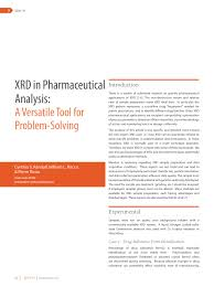 xrd in pharmaceutical analysis a versatile tool for problem