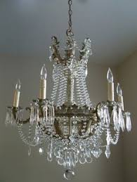 White Shabby Chic Chandelier by Antique French Basket Crystal Chandelier Lamp 1940s I Am