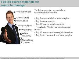 Senior Hr Manager Resume Sample by Senior Hr Manager Recommendation Letter