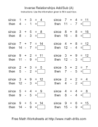 Addition Worksheets Pdf Inverse Relationships Addition And Subtraction Range 1 To 9 A