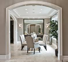 arched serving tray sets dining room transitional with beige trim