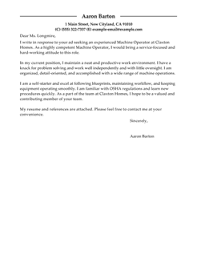 Best Machine Operator Cover Letter Examples   LiveCareer LiveCareer
