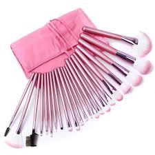 superior professional soft cosmetic makeup brush set pink pouch