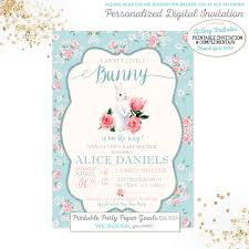 bunny baby shower invitation easter baby shower invitation vintage