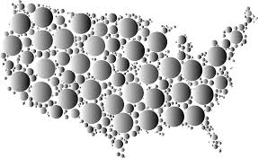 United States Map by Clipart Prismatic United States Map Circles 6