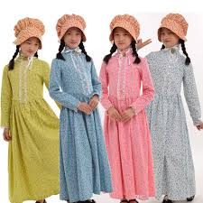 kids halloween carnival party girls costume civil war colonial